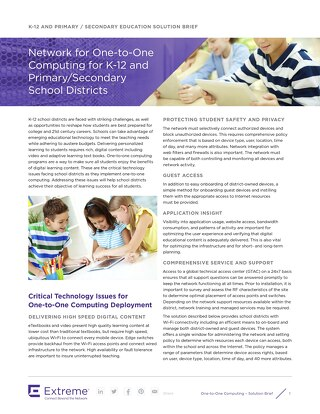 Network for One-to-One Computing for K-12 and Primary/Secondary School Districts