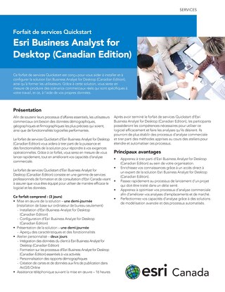 Forfait de services Quickstart - Esri Business Analyst for Desktop (Canadian Edition)