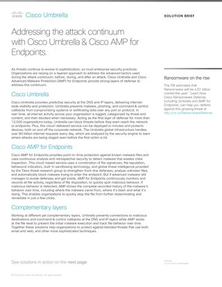 Cisco Umbrella and Cisco AMP for Endpoints