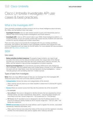 Cisco Umbrella Investigate API Use Cases and Best Practices