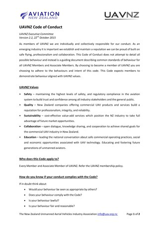 UAVNZ Code of Conduct v2.2