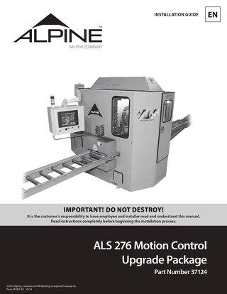 ALS 276 Motion Control Upgrade