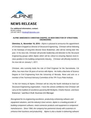 Christian Chappell News Release November 2016
