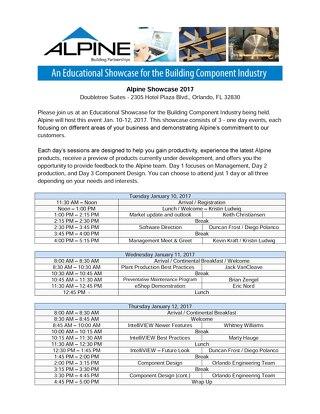 Orlando Showcase 2017 Agenda