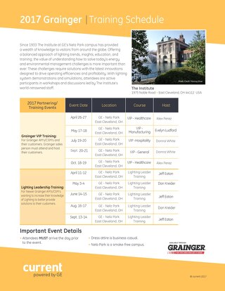 2017 Grainger Training Schedule