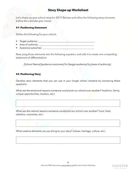 Story Shape Up Worksheet