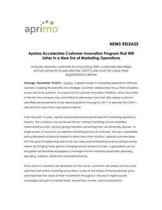 Aprimo Accelerates Customer Innovation Program that Will Usher in a New Era of Marketing Operations