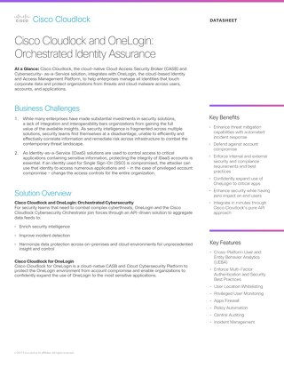 Cisco Cloudlock and OneLogin: Orchestrated Identity Assurance