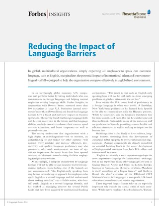 Reducing the Impact of Language Barriers