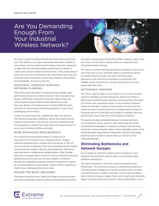 Are You Demanding Enough From Your Industrial Wireless Network?