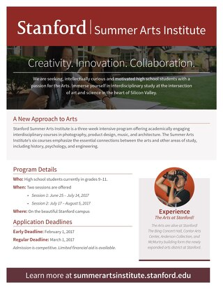 Stanford Summer Arts Institute Flyer 2017