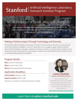 Stanford AI Lab Outreach Summer Program Flyer 2017