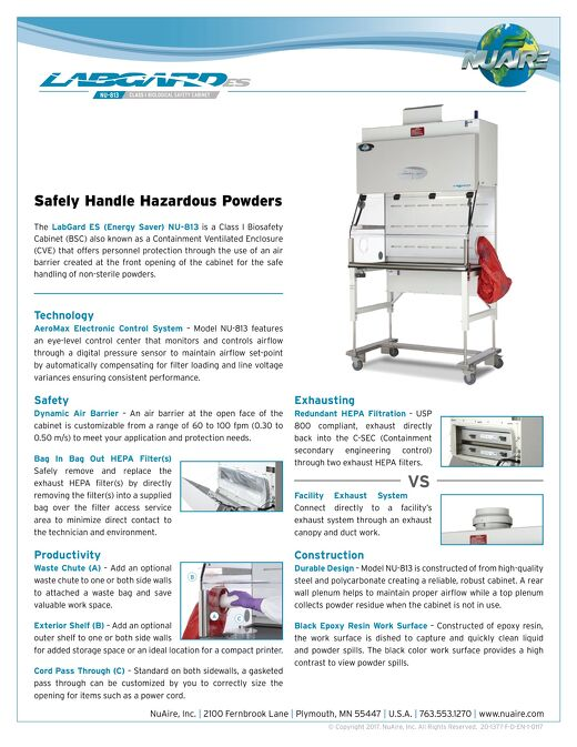 [Flyer] LabGard ES NU-813 Class I Containment Ventilated Enclosure for Pharmacy