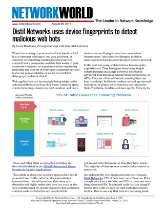 Distil Networks Uses Device Fingerprints to Detect Malicious Web Bots