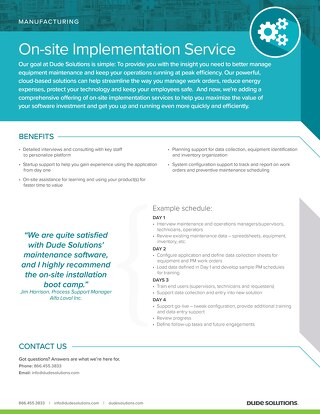 On-Site Implementation Service for Manufacturing Datasheet