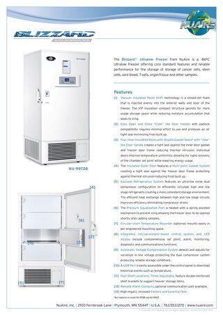 Blizzard Ultralow Freezer Product Flyer