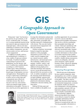 GIS: A Geographic Approach to Open Government