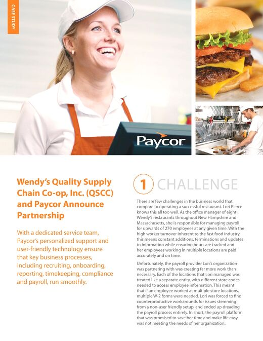 Case Study: Wendy's Quality Supply Chain Co-op, Inc. (QSCC)