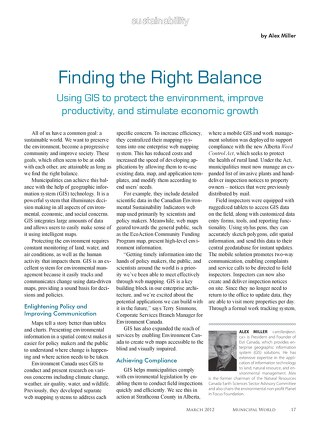 Finding the Right Balance: Using GIS to Protect the Environment, Improve Productivity, and Stimulate Economic Growth
