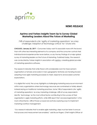 Aprimo and Forbes Insights Team Up to Survey Global Marketing Leaders About the Future of Marketing