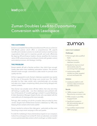 Zuman Doubles Lead-to-Opportunity Conversion Rate with Leadspace