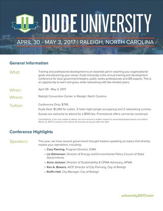 Dude University 2017 Fact Sheet for Government