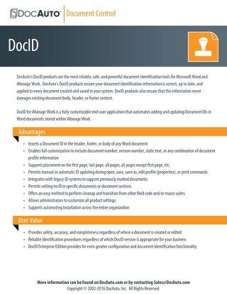 Datasheet: DocID