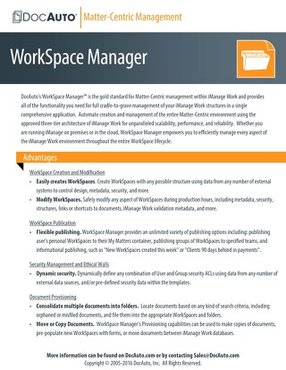 Datasheet: WorkSpace Manager