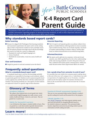 BGPS K-4 Report Card Parent Guide 2017