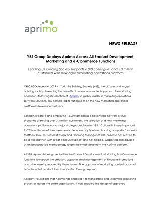 YBS Group Deploys Aprimo Across All Product Development, Marketing and e-Commerce Functions