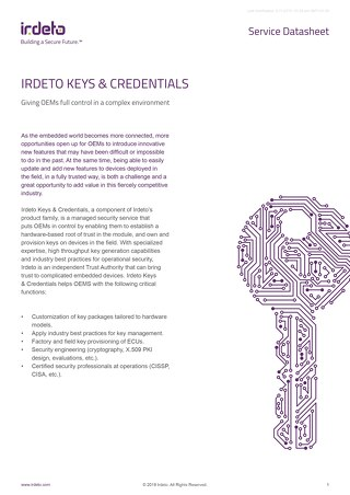 Datasheet: Cloakware Keys & Credentials