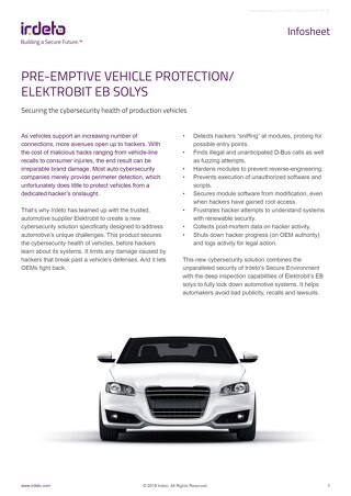 Infosheet: Pre-emptive Vehicle Protection/Elektrobit EB Solys