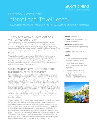 QuanticMind Customer Success Story - International Travel Leader