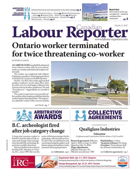 Canadian Labour Reporter March 13 2017