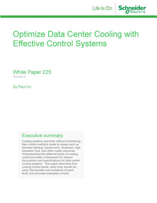 WP 225 - Optimize Data Center Cooling with Effective Control Systems