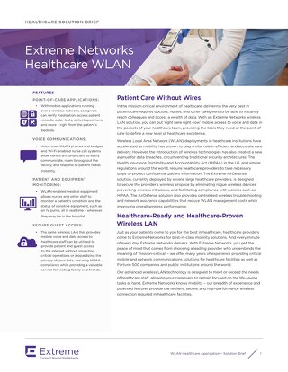 Extreme Networks Healthcare WLAN Solution Brief