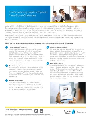 Online Learning Helps Companies Meet Global Challenges