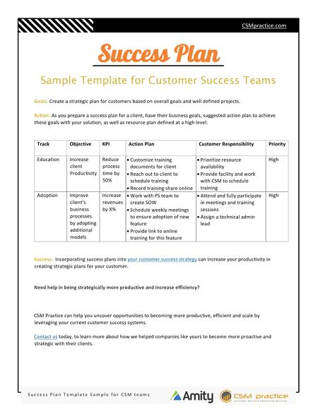 Customer Success Resources - Success Plan Template for Customer ...