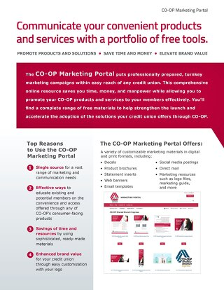 CO-OP Marketing Portal Slipsheet