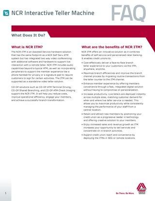 NCR ITM FAQ