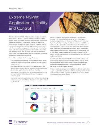 Extreme NSight Application Visibility and Control