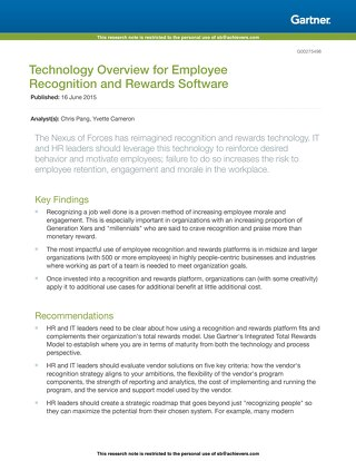 Technology Overview for Rewards and Recognition Software - Gartner