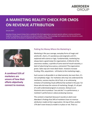 Aberdeen Group: A Marketing Reality Check for CMOs on Revenue Attribution