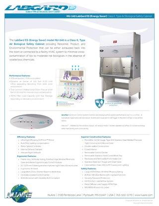 [Flyer] LabGard ES NU-540 Class II, Type A2 Biosafety Cabinet