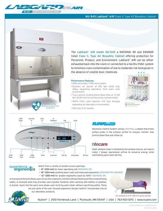 [Flyer] LabGard AIR NU-543 Class II, Type A2 Biosafety Cabinet