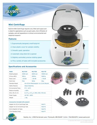 [Flyer] NuAire Mini-Centrifuges