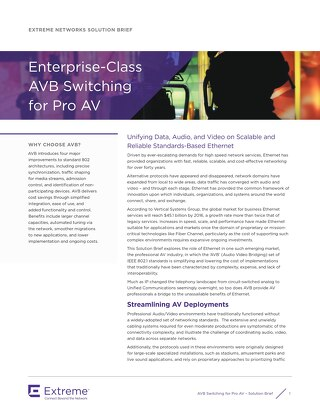Enterprise-Class AVB Switching for Pro AV