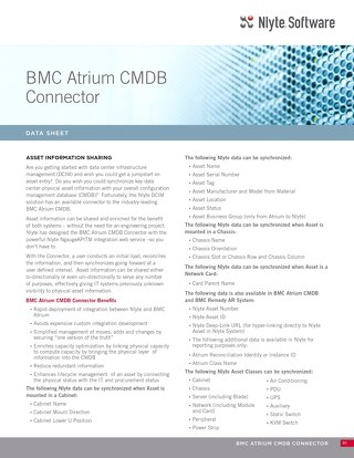 Nlyte BMC Atrium CMDB Connector Data Sheet