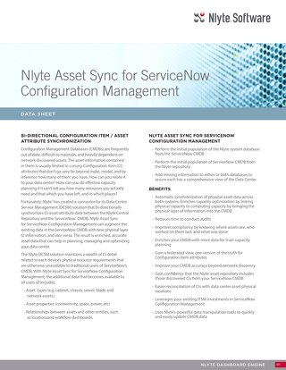 Nlyte Asset Sync for ServiceNow Data Sheet