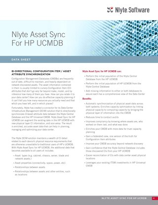 Nlyte Asset Sync for HP UCMDB Data Sheet